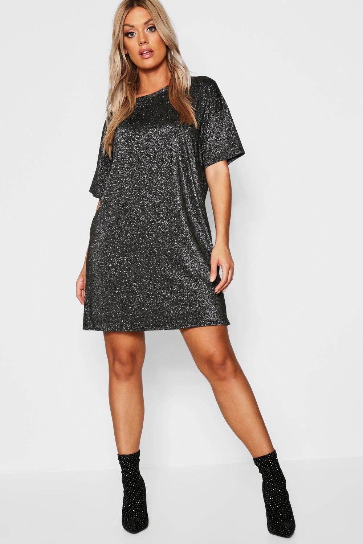 Plus Glitter Metalic Oversized T-Shirt Dress