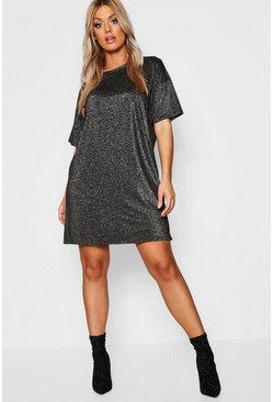 Womens Black Plus Glitter Metallic Oversized T-Shirt Dress