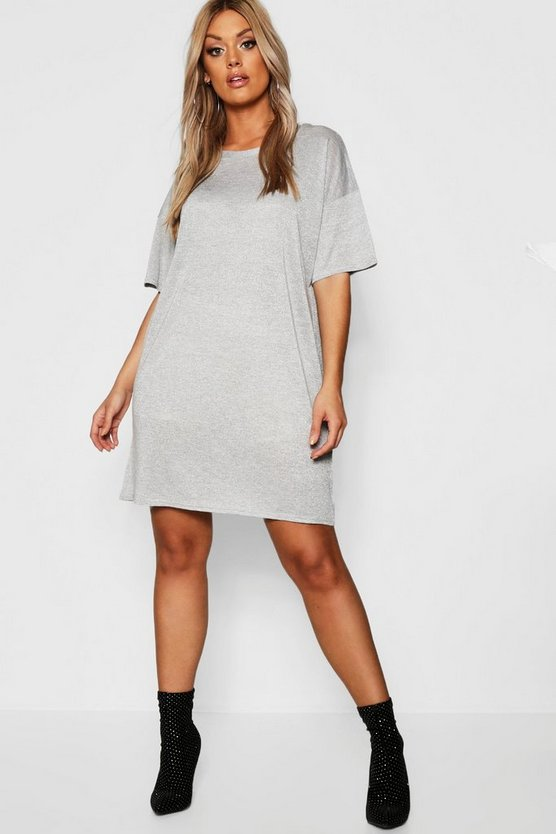 Plus Glitter Metalic Oversized T-Shirt Dress