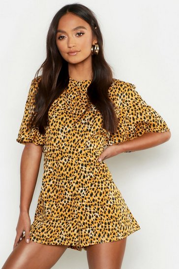 Womens Brown Petite Leopard Print High Neck Playsuit