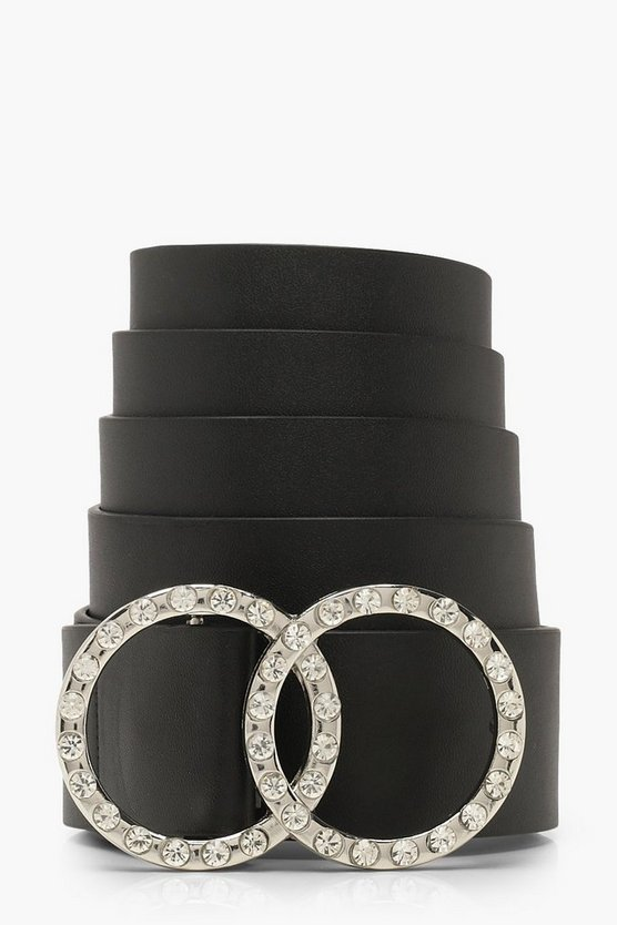 Black Plus Diamante O-Ring Belt