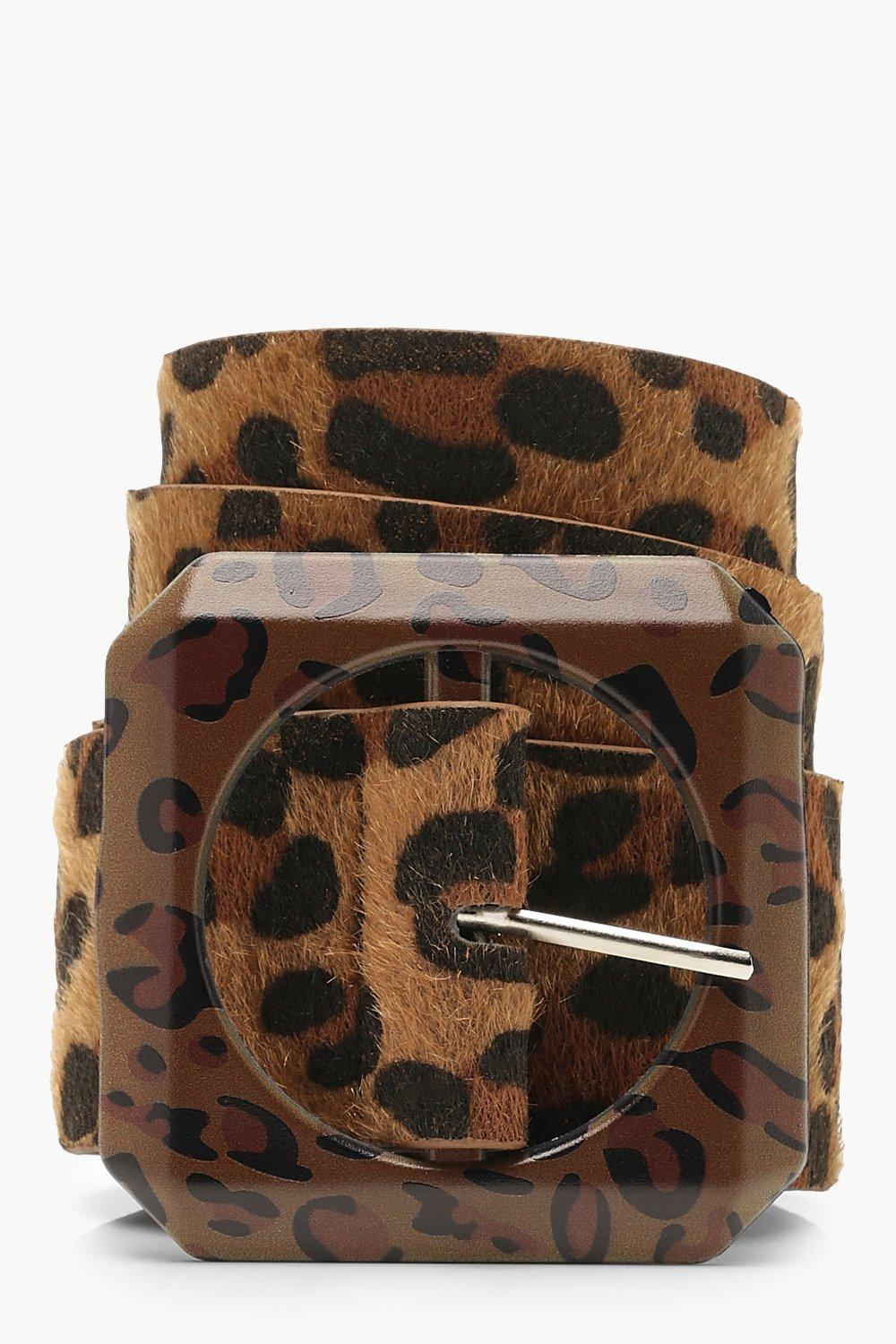 Plus Leopard Contrast Buckle Belt