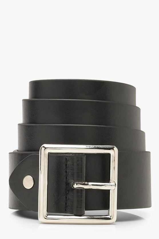 Womens Black Plus Silver Square Buckle Boyfriend Belt