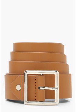 Womens Light brown Plus Silver Square Buckle Boyfriend Belt