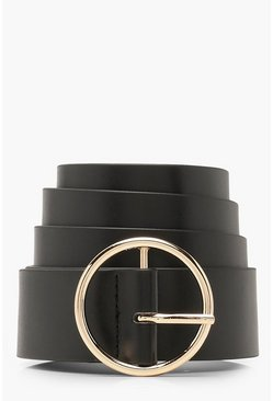 Womens Black Plus Circle Ring Belt