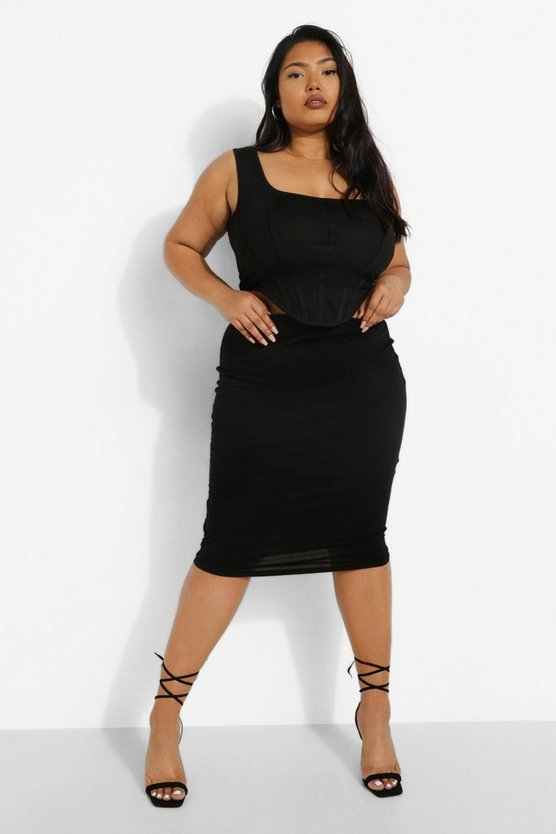 Womens Black Plus Midi Tube Skirt