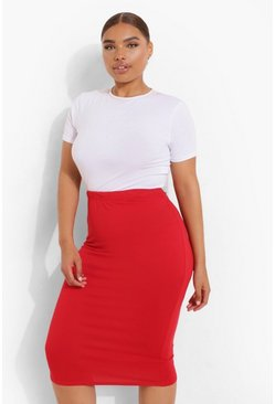 Womens Red Plus Midi Tube Skirt