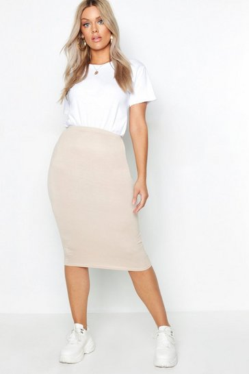 Taupe Plus Midi Tube Skirt
