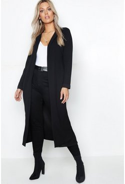 Black Plus Crepe Longline Duster