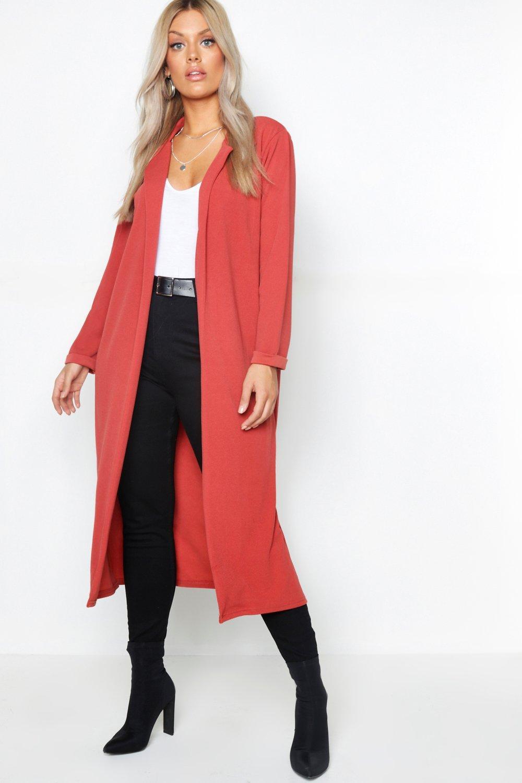 Vintage Coats & Jackets | Retro Coats and Jackets Womens Plus Crepe Longline Duster - Orange - 16 $12.80 AT vintagedancer.com