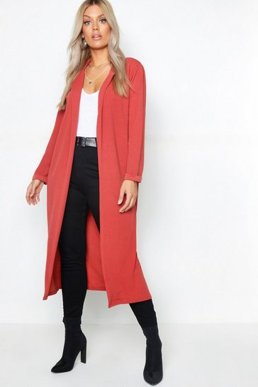 Womens Terracotta Plus Crepe Longline Duster