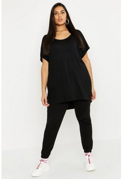 Plus t-shirt oversize, Nero