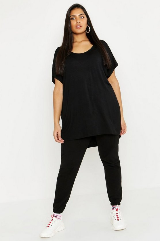 Womens Black Plus Oversized T-Shirt