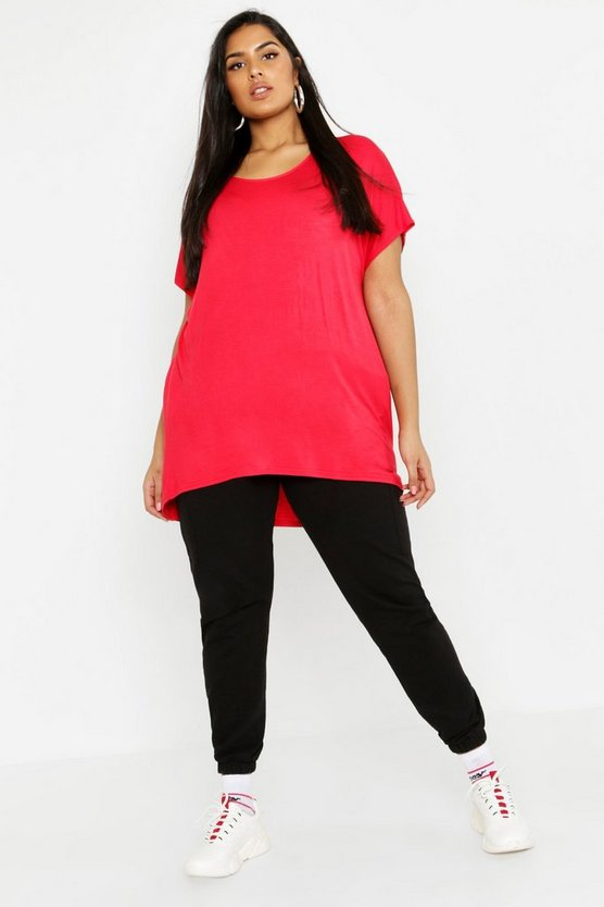 Womens Red Plus Oversized T-Shirt