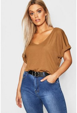 Womens Earth Plus Basic Rib Oversized T-Shirt