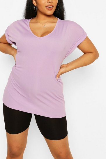 Lilac Plus Basic Rib Oversized T-Shirt