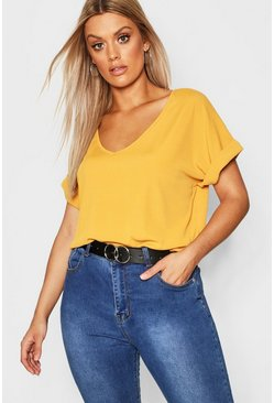 Womens Mustard Plus Basic Rib Oversized T-Shirt