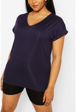 Navy Plus Basic Rib Oversized T-Shirt