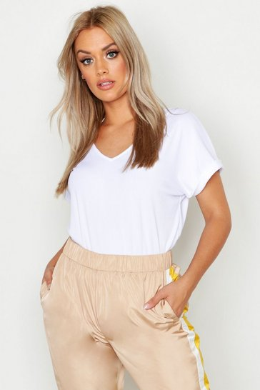 White Plus Basic Rib Oversized T-Shirt