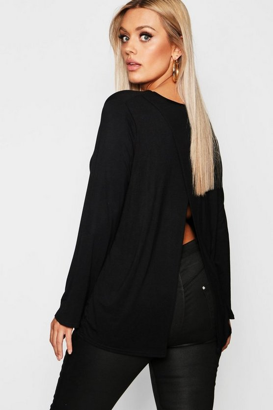 Womens Black Plus Jersey Long Sleeve Open Back T-Shirt