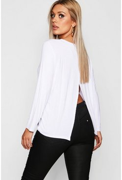 Womens White Plus Jersey Long Sleeve Open Back T-Shirt
