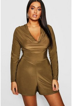 Womens Khaki Plus Slinky Cowl Front Playsuit