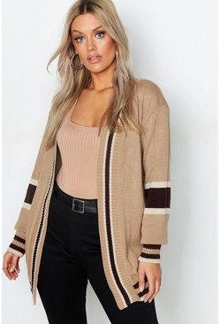 Womens Mocha Plus Contrast Stripe Cardigan