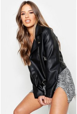 Black Petite Belted Oversized PU Jacket