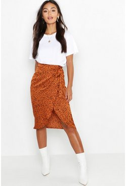 Womens Camel Petite Printed Satin Wrap Skirt