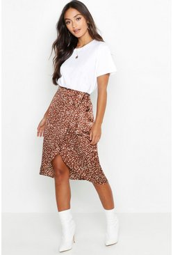 Womens Chocolate Petite Printed Satin Wrap Skirt