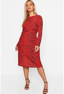 Womens Red Plus Leopard Print Wrap Tie Waist Maxi Dress