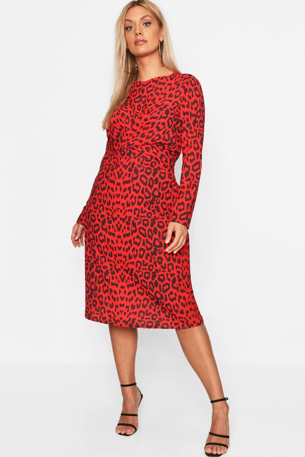 4a1e1de6d1 Plus Leopard Print Wrap Tie Waist Maxi Dress