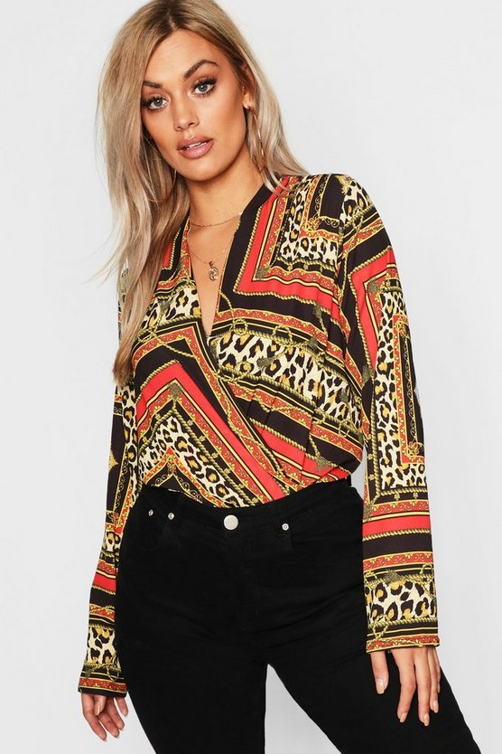 Plus Chain Print Plunge Wrap Bodysuit