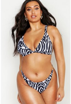 Womens White Plus Zebra Front Fasten Triangle Bikini
