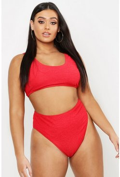 Womens Red Plus Mix & Match Textured Crop Bikini Top