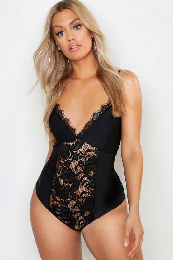 Womens Black Plus Lace Satin Bodysuit