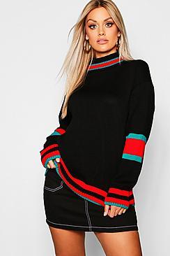 Plus Roll Neck Stripe Detail Sweater