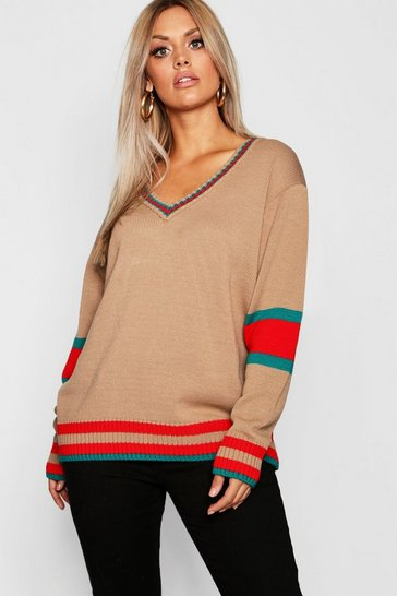 Womens Mocha Plus Stripe Contrast V Neck Oversized Jumper