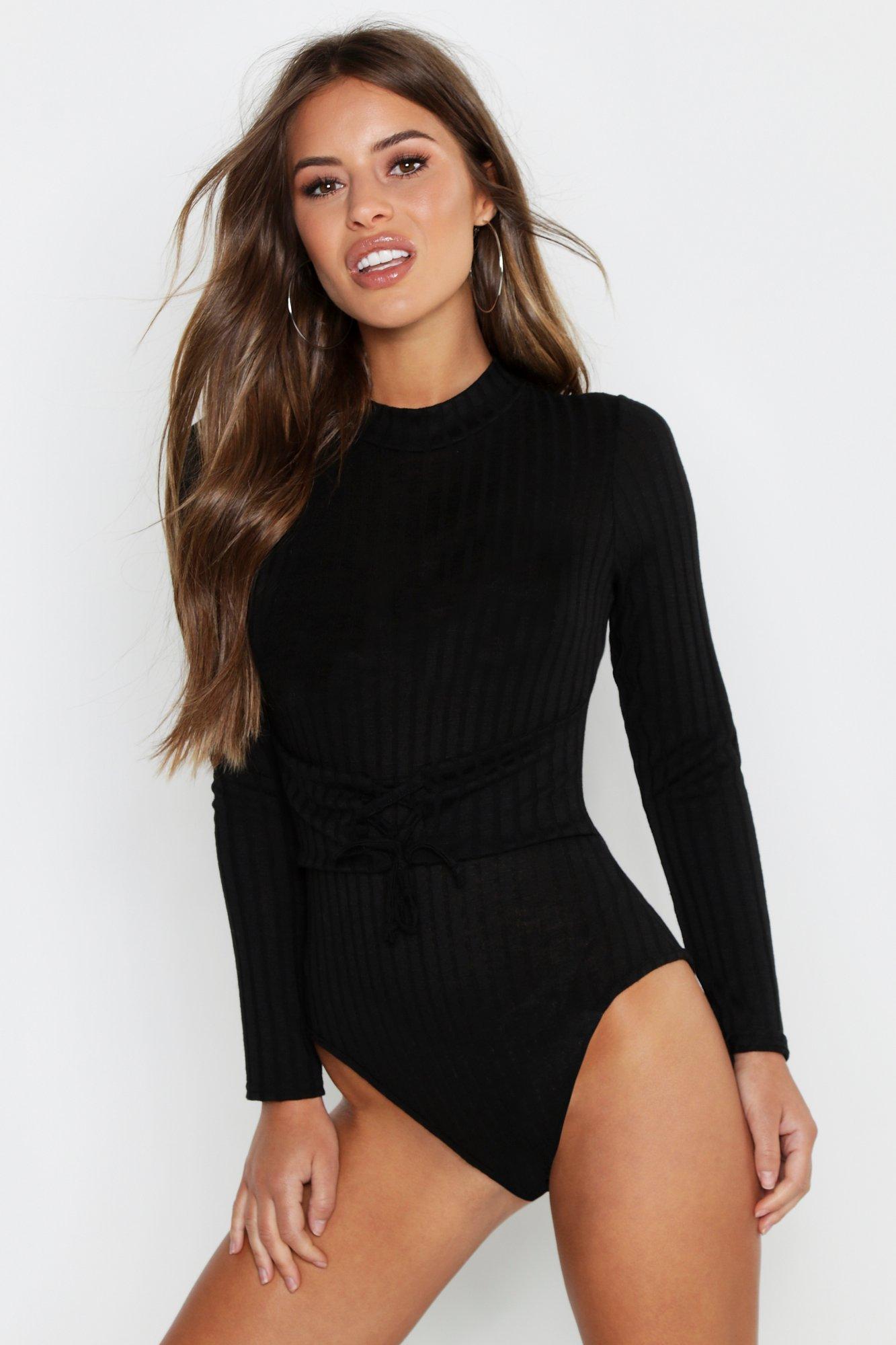 Petite Corset Waist Rib Bodysuit