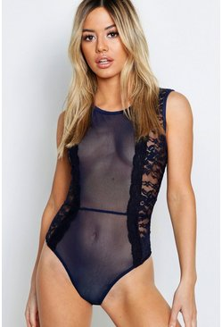 Womens Navy Petite Sleeveless Mesh Panel Lace Bodysuit