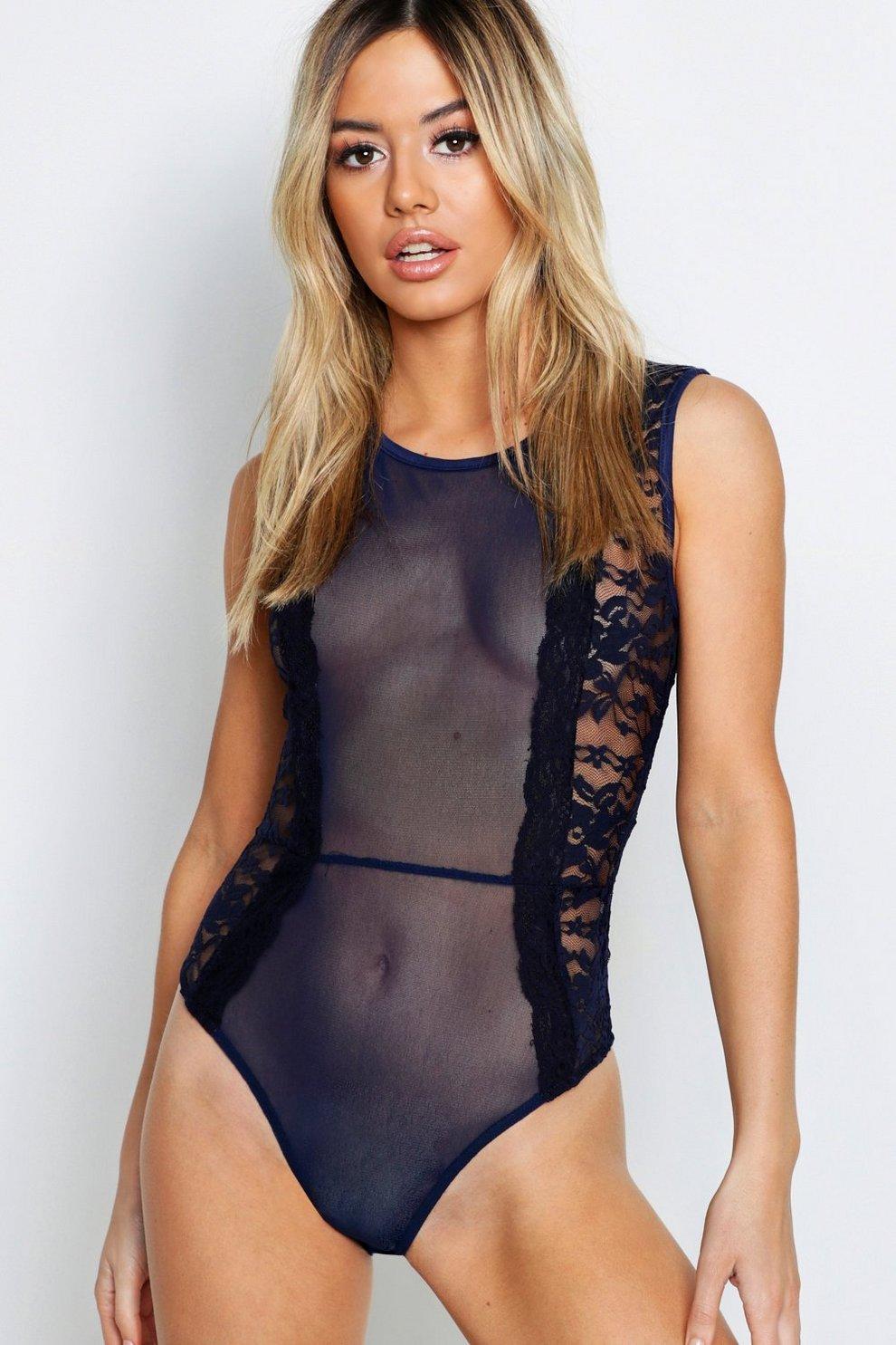 fe2e62ec6370 Petite Sleeveless Mesh Panel Lace Bodysuit | Boohoo