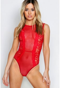 Womens Red Petite Sleeveless Mesh Panel Lace Bodysuit