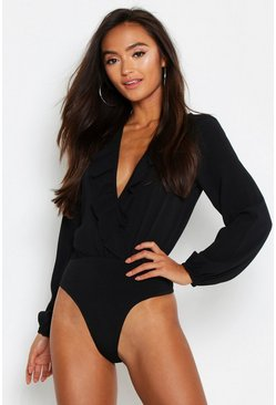 Black Petite Frill Edge Woven Long Sleeve Bodysuit
