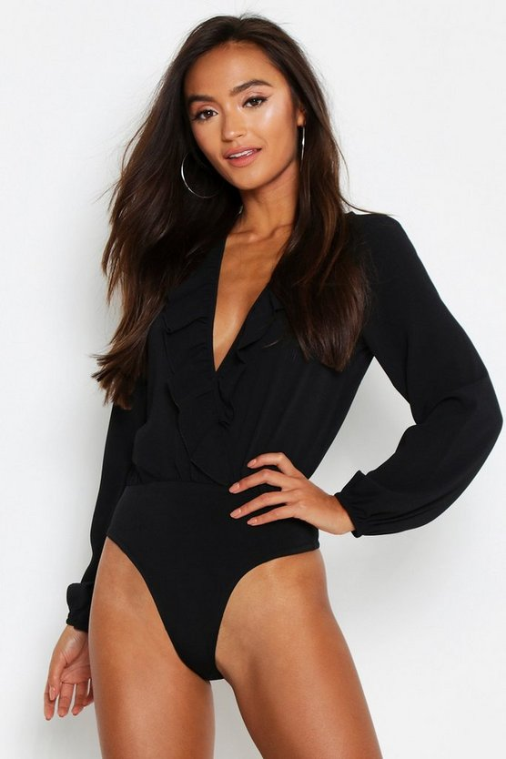 Petite Frill Edge Woven Long Sleeve Bodysuit