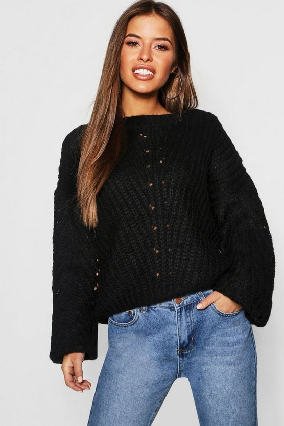 Womens Black Petite Soft Knit Cable Sleeve Sweater