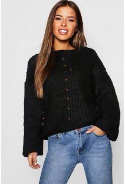 Womens Black Petite Soft Knit Cable Sleeve Jumper