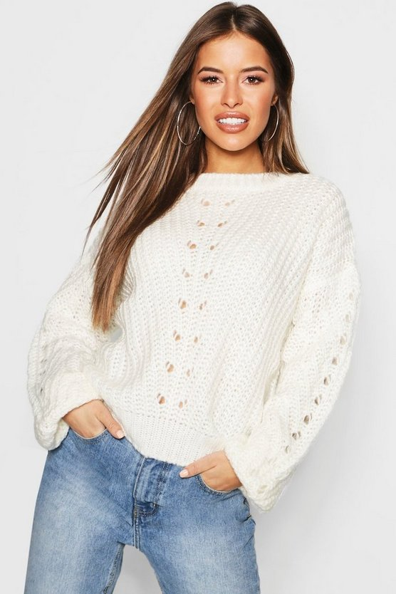 Womens Cream Petite Soft Knit Cable Sleeve Jumper