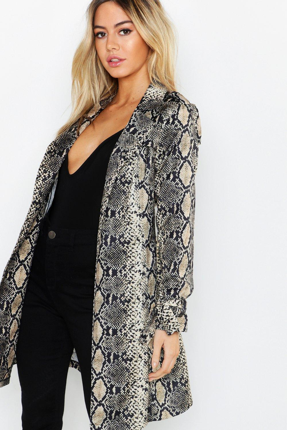Petite Snake Print Belted Trench Coat