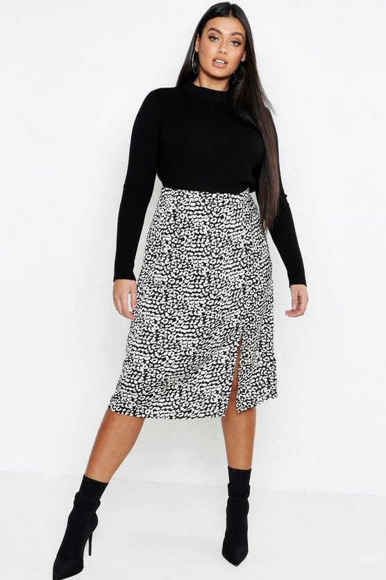 Womens Black Plus Satin Leopard Split Skirt