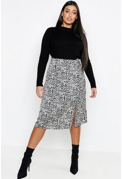 Womens Plus Satin Leopard Split Skirt